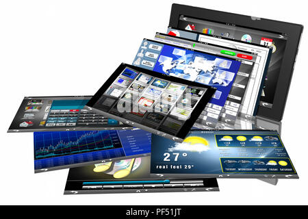 3D illustration. Tablet application software programs. Tablet isolated on white background. - Stock Photo
