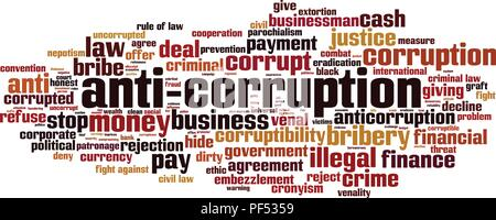 Anti-corruption word cloud concept. Vector illustration - Stock Photo