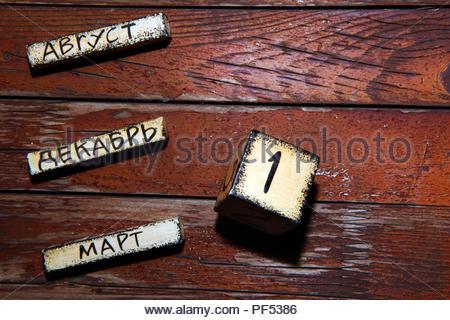wooden block calendar garden - Stock Photo