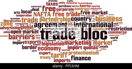 Trade bloc word cloud concept. Vector illustration - Stock Photo