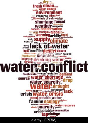 Water conflict word cloud concept. Vector illustration - Stock Photo