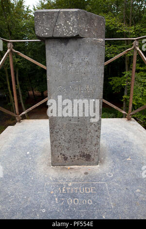altitude measuring point at the Baltia Hill, highest point of Belgium (700 metres above sea level), Botrange, High Fens, Eastbelgium.  Hoehenmesspunkt - Stock Photo