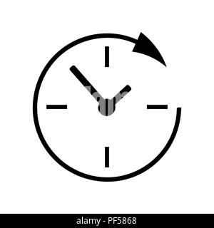 Service and support for customers around the clock and 24 hours. Vector. Filled black icon at white background. Isolated. - Stock Photo