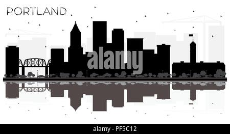 Portland Oregon City skyline black and white silhouette with Reflections. Vector illustration. Simple flat concept for tourism presentation, banner, p - Stock Photo