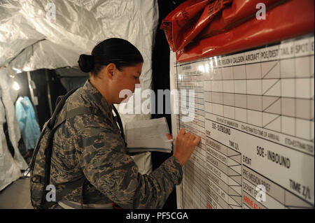 U.S. Air Force Maj. Lisa Haik, 927th Aeromedical Staging Squadron immunizations officer writes on a board in preparation for the arrival of patients during exercise Patriot Warrior on Aug. 17, 2018 at Fort McCoy, Wisc. During exercise Patriot Warrior, one aspect that the unit was evaluated for was patient movement operations. (U.S. Air Force photo by Staff Sgt. Xavier Lockley) - Stock Photo