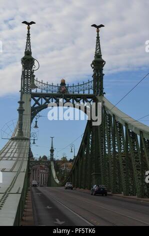 Liberty bridge (Szabadság híd), Budapest, 1896, designed by János Feketeházy in Art Nouveau style. It´s a cantilever bridge with suspended middle span - Stock Photo