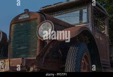 A rust Speed Wagon Truck circa 1930. Front view. - Stock Photo