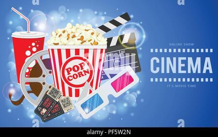 Cinema and Movie Banner - Stock Photo
