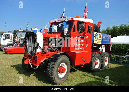 a 1952 Scammell Explorer Heavy Recovery, Ex British Army tank recovery /prime mover unit lorry parked up at Torbay Steam Fair, Churston, Devon England - Stock Photo