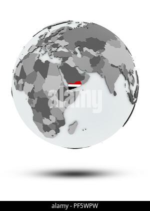 Yemen with flag on globe with shadow isolated on white background. 3D illustration. - Stock Photo