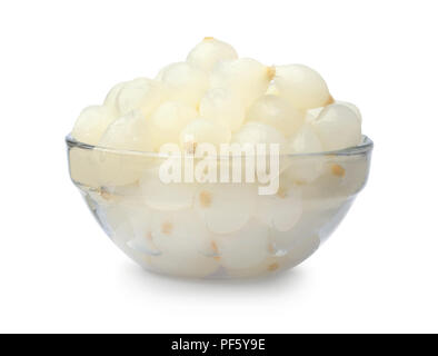 Pickled onion in a glass bowl isolated on a white background - Stock Photo