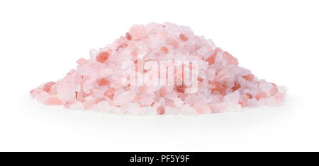 Heap of pink himalayan salt isolated on white background - Stock Photo