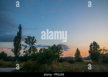 Nightfall in the countryisde. Villaverde de la Peña, Palencia province, Spain. - Stock Photo