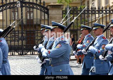 Changing of the Guard ceremony at Prague Castle, Czech Republic. - Stock Photo