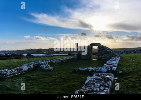 Old ruins of Nendrum Monastry, Mahee Island, County Down, N.Ireland. - Stock Photo