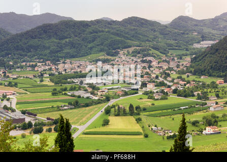 Village of Follina seen from Castelbrando, in the wine Prosecco region, Italy - Stock Photo