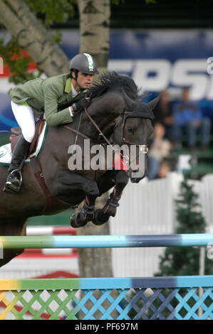 The National, Spruce Meadows June 2002, Rodrigo Pessoa (BRA) riding Cantate - Stock Photo