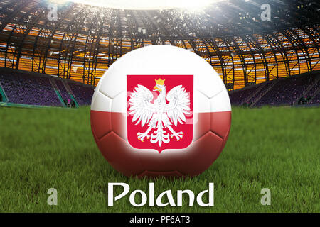 Poland football team ball on big stadium background with Poland Team logo competition concept. Poland flag on ball team tournament in Poland. 3d rende - Stock Photo