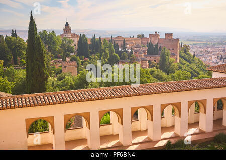 View across the cityscape of Granada from the Generalife Gardens in Andalusia Spain - Stock Photo