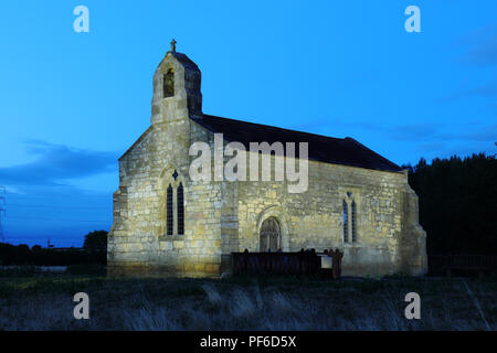 St Mary's Church at night near Tadcaster - Stock Photo