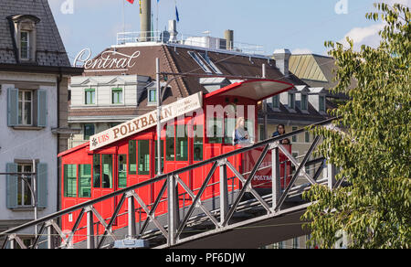 Zurich, Switzerland - September 27, 2017: the Polybahn funicular railway. The Polybahn, also known as the UBS Polybahn, is a funicular railway in the  - Stock Photo