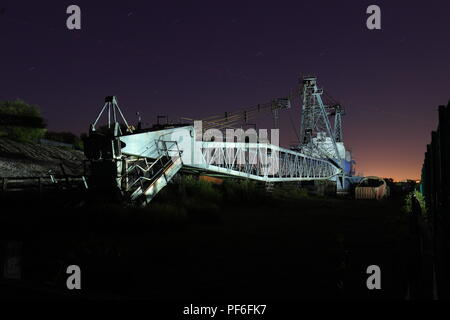 Ruston Bucyrus BE1150 is a preserved walking dragline that sits at St Aidan's Nature Reserve formerly St Aidan's Open Cast Coal Site near Leeds. - Stock Photo