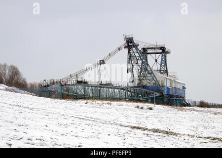 Ruston Bucyrus BE1150 is a Walking Dragline based at RSPB St Aidan's near Leeds, which is now it's place of rest and used as a museum . - Stock Photo
