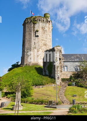 Tower of the ruined 9th century castle at Bricquebec, Cotentin peninsula, Basse-Normandie, France - Stock Photo