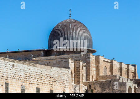 Dome of the Al Aqsa Mosque on the Temple Mount in the Old City of Jerusalem, Israel - Stock Photo