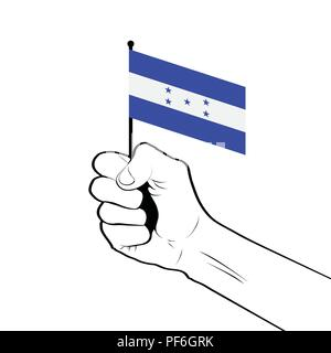Clenched fist raised in the air holding the national flag of Honduras - Stock Photo
