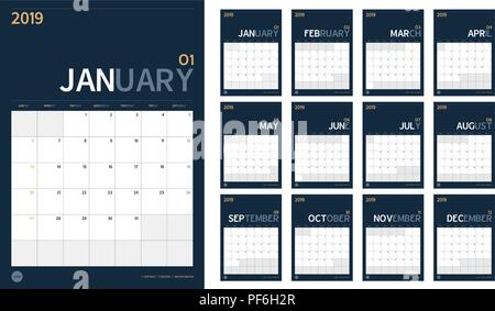 Vector of 2019 new year calendar set in clean minimal table simple style and navy blue color,Holiday event planner,Week Starts Sunday,A4 vertical size - Stock Photo