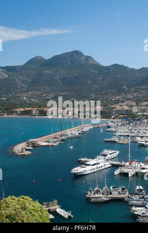 The harbour in Calvi, The Balagne, Corsica, France, Europe - Stock Photo