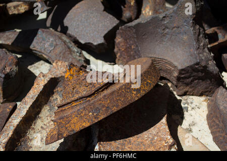 Rusty broken iron. Big irones is broken - Stock Photo