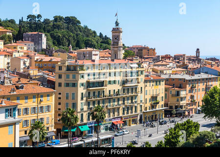 NICE, FRANCE - JUNE 23, 2016: Aerial view of colorful historical houses in City of Nice, luxury sea resort of French Riviera, France. The Tower of Sai - Stock Photo