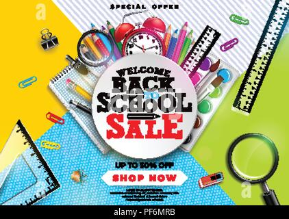 Back to school sale design with colorful pencil, brush and other school items on abstract background. Vector Illustration with Special Offer Typography Elements for Coupon, Voucher, Banner, Flyer, Promotional Poster, Invitation or greeting card. - Stock Photo