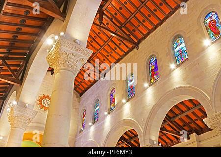 NAZARETH, ISRAEL - SEPTEMBER 21, 2017: Interior of St. Joseph's Church,a Franciscan Roman Catholic church in the Old City - Stock Photo