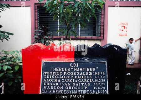 Managua, Nicaragua, July 1981; a monument to an FSLN narional hero on the place where he was killed in street fighting to overthrow Somoza in 1979. - Stock Photo