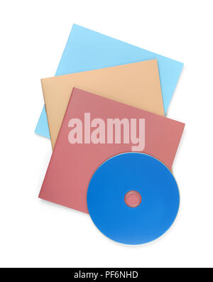Top view of blank booklets and compact disk isolated on white - Stock Photo