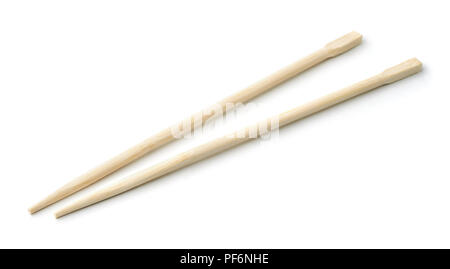 Pair of bamboo disposable chopsticks isolated on white - Stock Photo