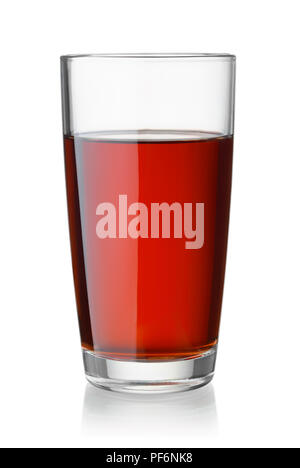Front view of cherry juice glass isolated on white - Stock Photo