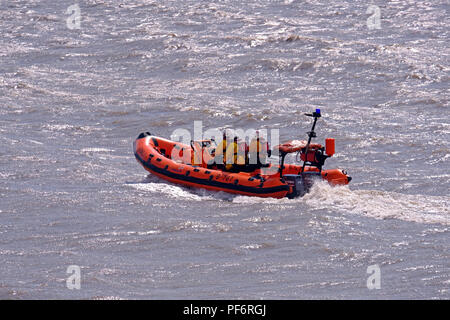 Weston-super-Mare, UK. 19th August, 2018. A lifeboat demonstrates rescue techniques at the annual RNLI open day. Credit: Keith Ramsey/Alamy Live News - Stock Photo