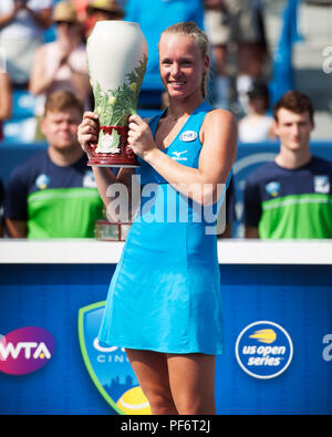 Mason, Ohio, USA. August 19, 2018: Kiki Bartens (NED) wins her first Western Southern Open win in Mason, Ohio, USA. Brent Clark/Alamy Live News - Stock Photo