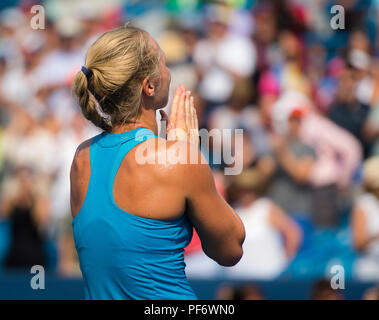 August 19, 2018 - Kiki Bertens of the Netherlands reacts to winning the final of the 2018 Western & Southern Open WTA Premier 5 tennis tournament. Cincinnati, Ohio, USA. August 19th 2018. Credit: AFP7/ZUMA Wire/Alamy Live News - Stock Photo