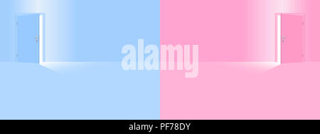 Childrens room. Blue and pink nursery for boy and girl, son and daughter, little brother and sister. - Stock Photo