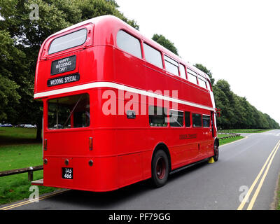 Full rear view of The London Transport Routemaster 'Long' Bus outside at a wedding in Warwick - Stock Photo