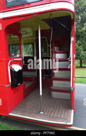 Rear view of The London Transport Routemaster 'Long' Bus outside at a wedding in Warwick - Stock Photo