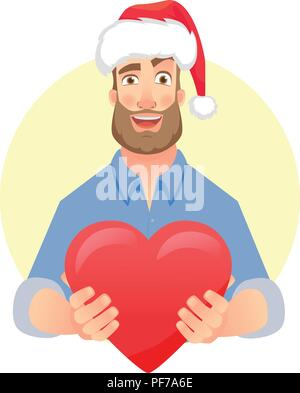 Businessman in Santa Claus hat. Charity icon vector Man gives heart. Charity concept. - Stock Photo