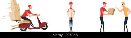 Set of postal workers in different poses. Courier or delivery service. Men characters with parcels packages boxes. Cheerful people in red uniform. Flat vector design. - Stock Photo