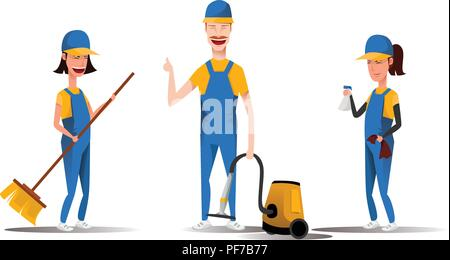 Cleaning service staff smiling cartoon characters isolated on white background. Men and women dressed in uniform vector illustration in a flat style. Cute and cheerful maids and housekeeping concept. - Stock Photo