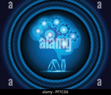 AI Letter Digital Artificial intelligence and big data Machine Learning business system concept.Vector illustration EPS10 - Stock Photo